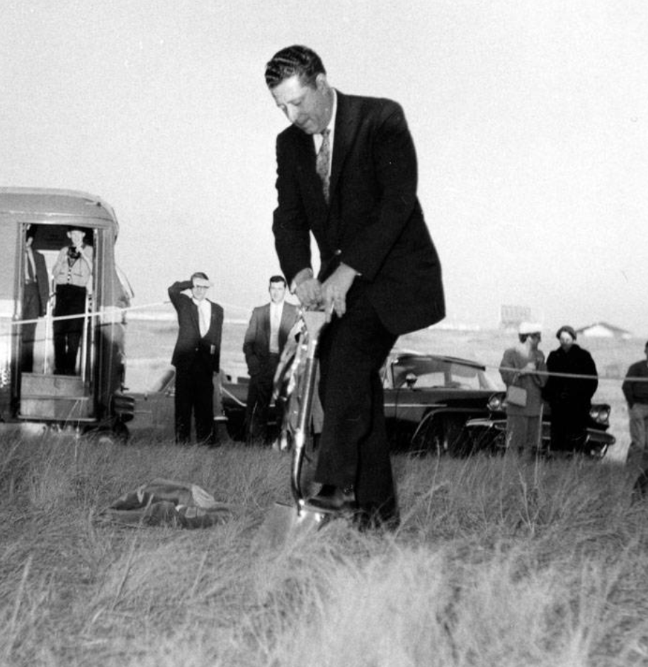 Hon. Fred Colborne, Alberta Minister without Portfolio, turning sod at the new UofC campus, November 1, 1958