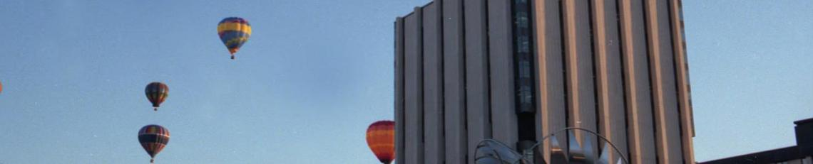 Hot air balloons seen from campus