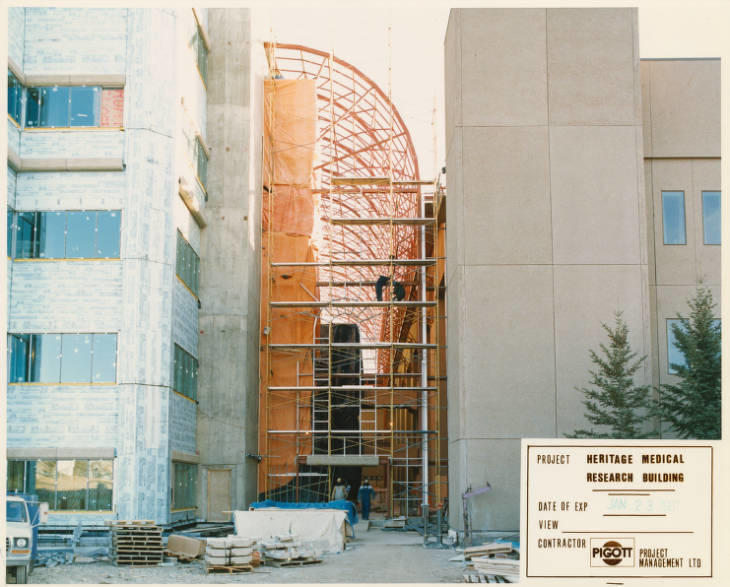 Heritage Medical Research building atrium construction in progress