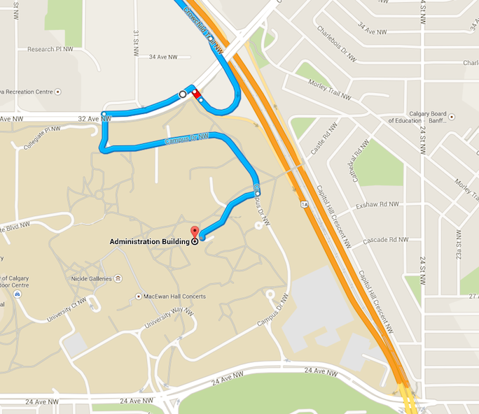 Driving North on Crowchild Trail Map