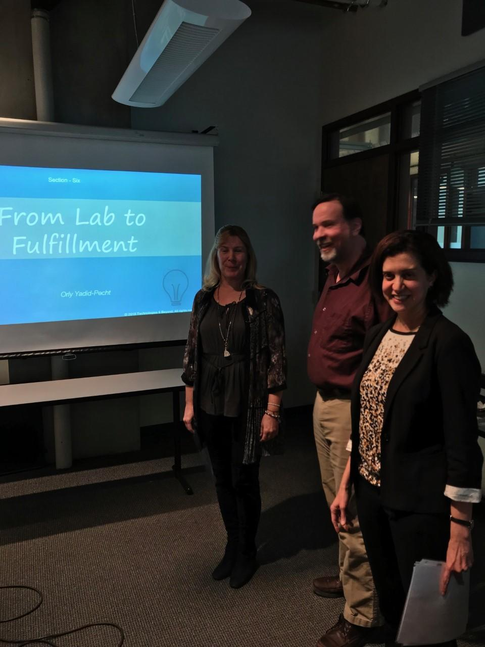 Dr. Yadid-Pecht presenting the FL2F at the UofC, with Dr. Skone (AVPR, UofC) and Dr. Westwick (DH, ENEL, UofC)