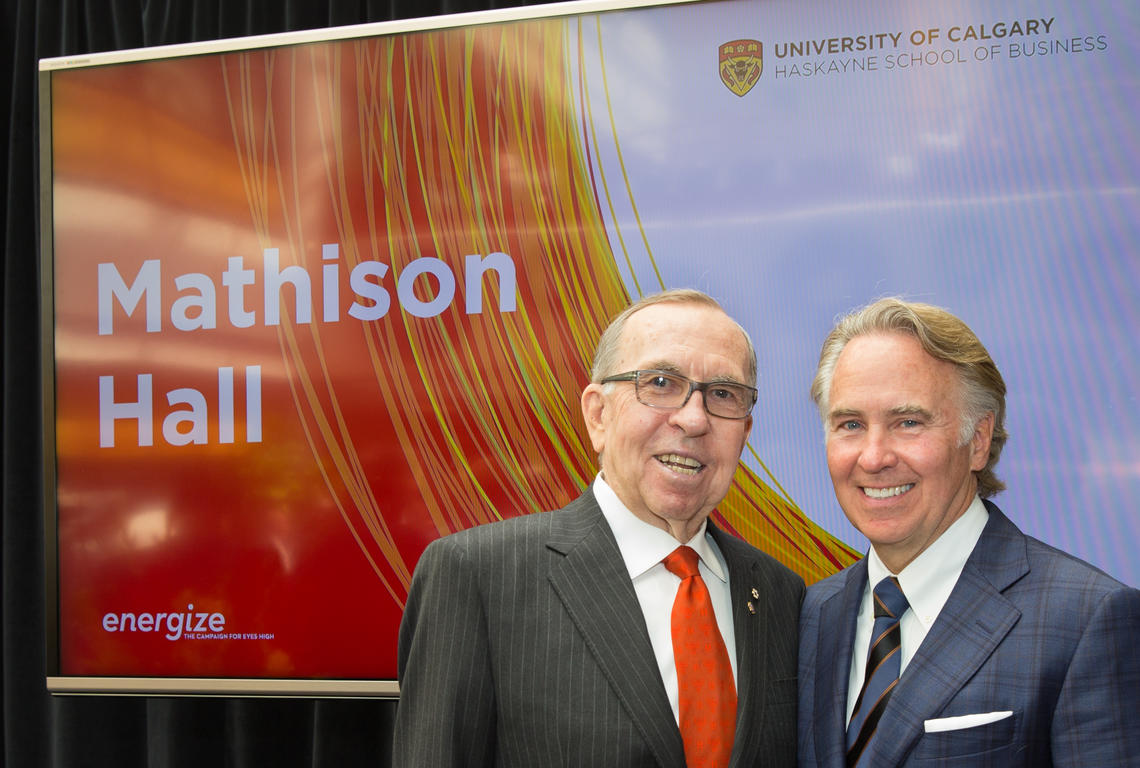 Longtime UCalgary donor Dick Haskayne with Ron Mathison