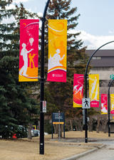 flags lining the road leading to the Art Parkade at UCalgary
