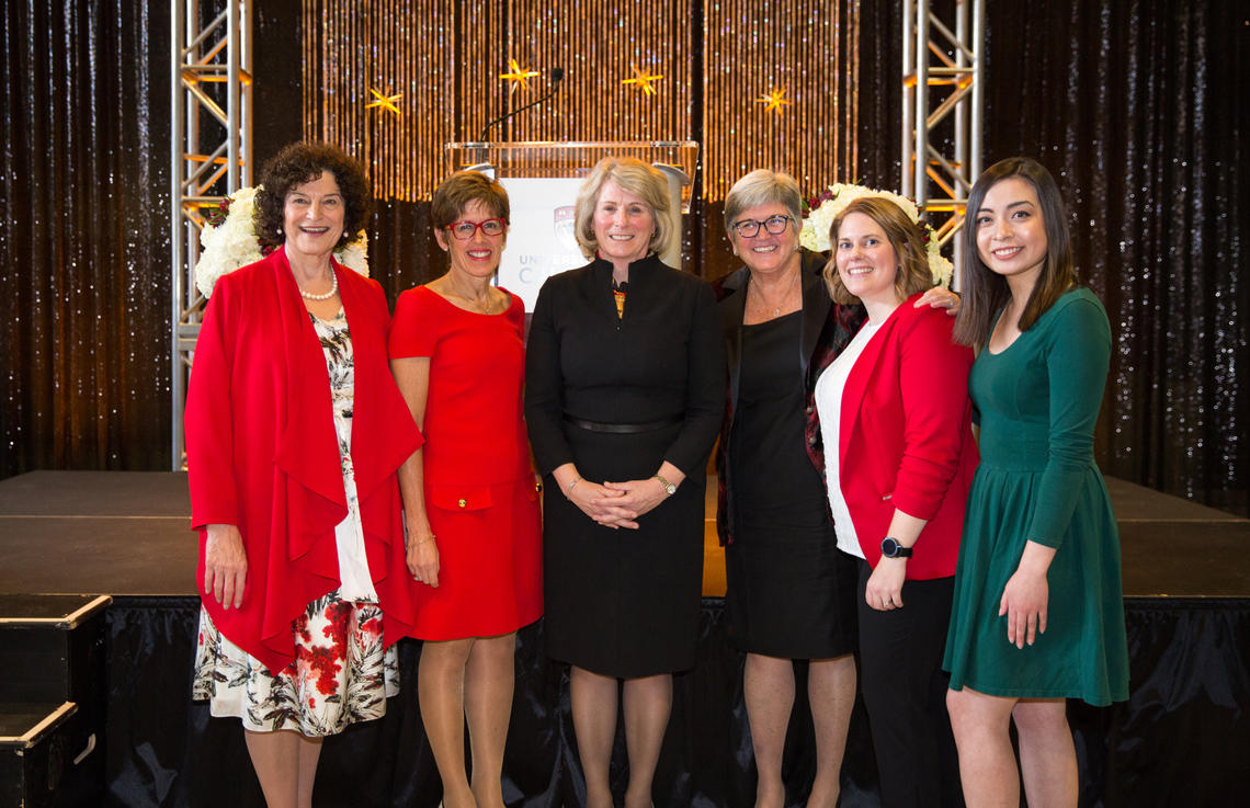 At the holiday celebration and Elizabeth Cannon farewell, from left: Jill Wyatt, Deborah Yedlin, Elizabeth Cannon, Dru Marshall, Brit Paris and Jessica Revington. Photo by Riley Brandt, University of Calgary