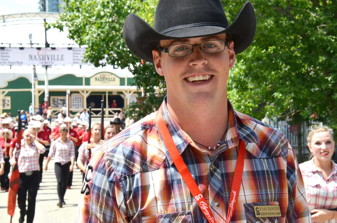 Ryan Hancock in his previous role with the Calgary Stampede as assistant director of bands.