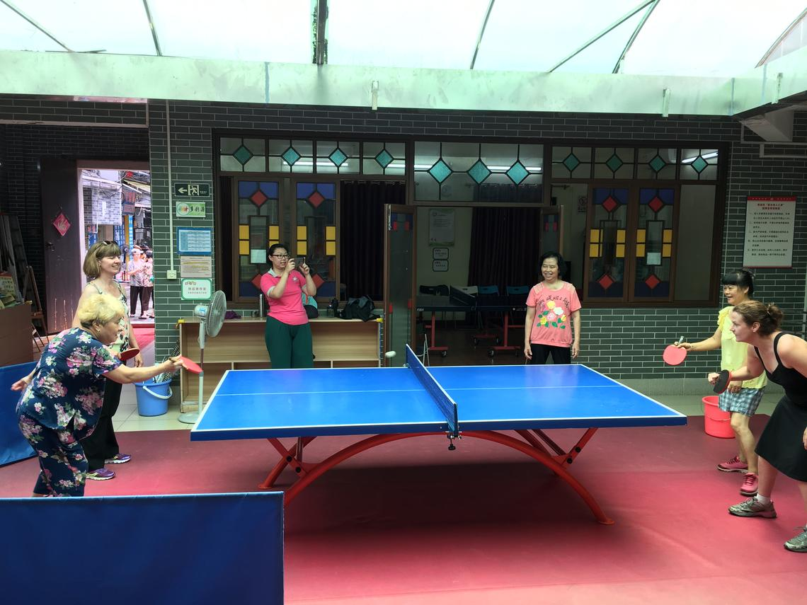 In between symposium presentations and meetings, the delegates also found time for a few friendly games of table tennis.