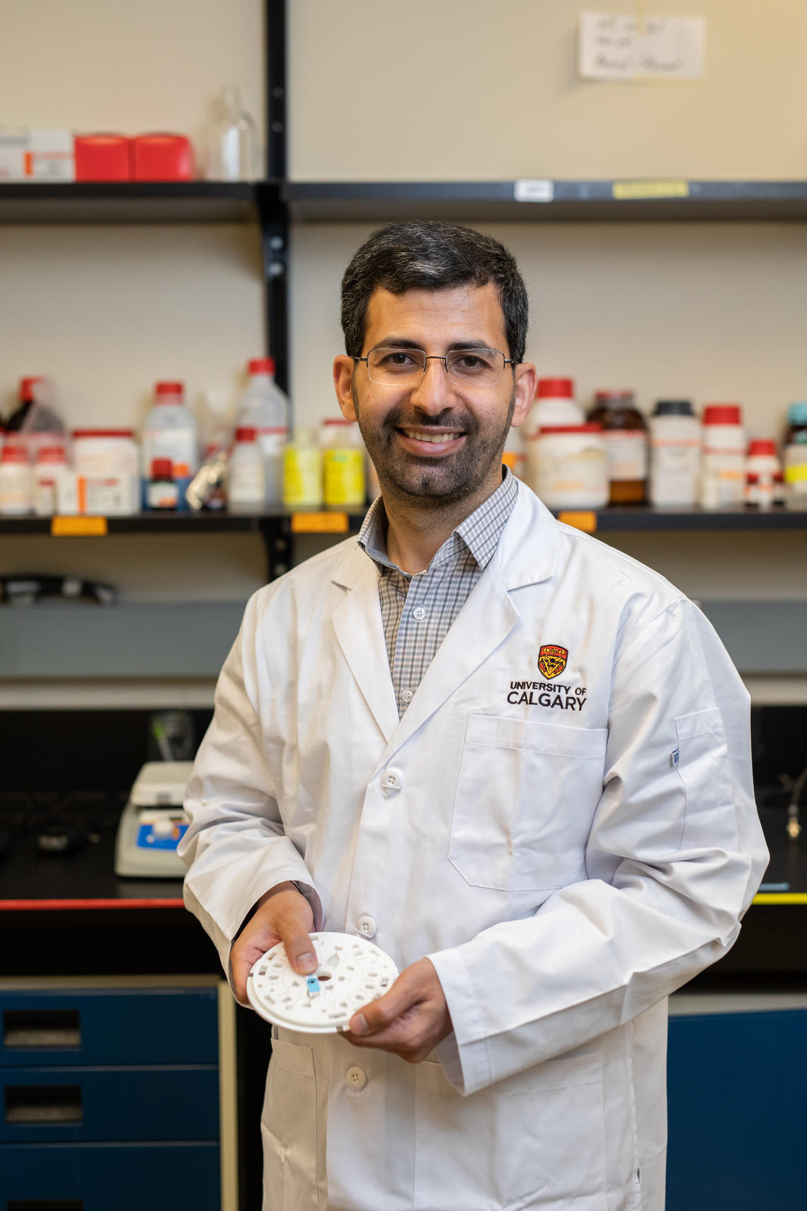 Amir Sanati-Nezhad is assistant professor in the Department of Mechanical and Manufacturing Engineering. His research is working toward quickly and efficiently analyzing every aspect of a blood sample, speeding up treatment time for patients.