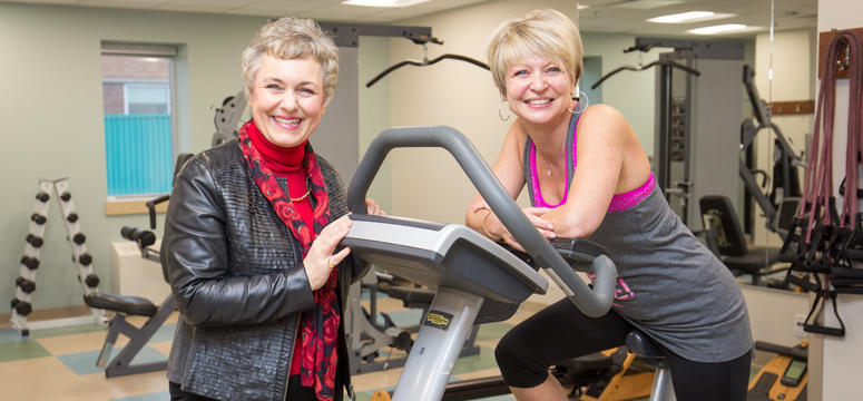CIHR grant name: Alberta Moving Beyond Breast Cancer (AMBER) Cohort Study. Christine Friedenreich, PhD, left, is the study lead, and Louise Jefferies-House is a study participant.