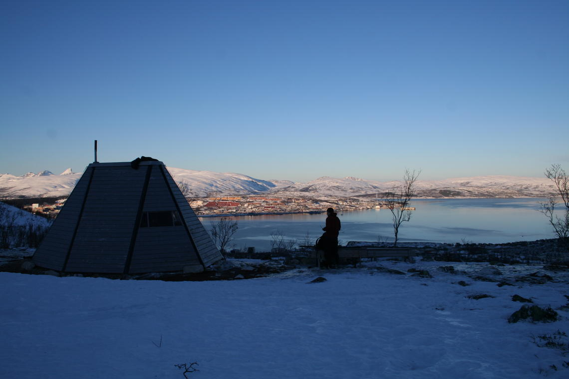 This warm-up shelter near Tromsø is open to the public. It is near cross-country skiing and hiking trails, and is a popular spot for people when they're viewing the northern lights in the winter.