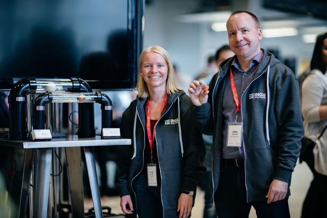 INGU's technology promises to improve pipeline safety by extending detection capabilities to small-diameter pipelines. With the demonstration model are Anouk van Pol, chief data scientist and John van Pol, co-founder and CEO, INGU Solutions.