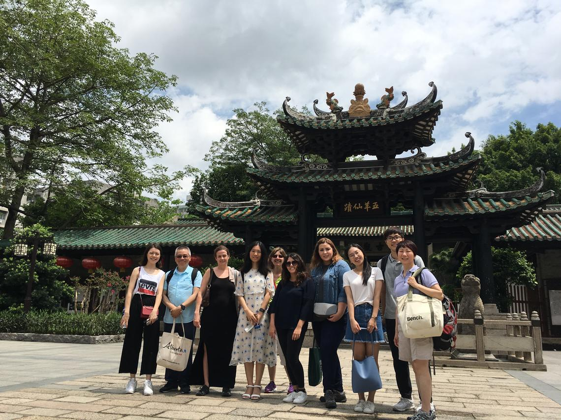 Members of the University of Calgary and former exchange students meet in Guangzhou, China. Professors Dora Tam, far right, and Siu Ming Kwok, second from left, are leading the creation of a social innovation hub to support collaboration.