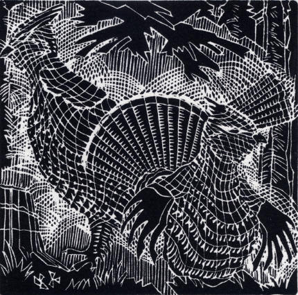 Ruffled Grouse, 1990, ed. 50, linoblock/paper. Featured in Pressed: Four Decades of Prints by D. Helen Mackie, RCA.