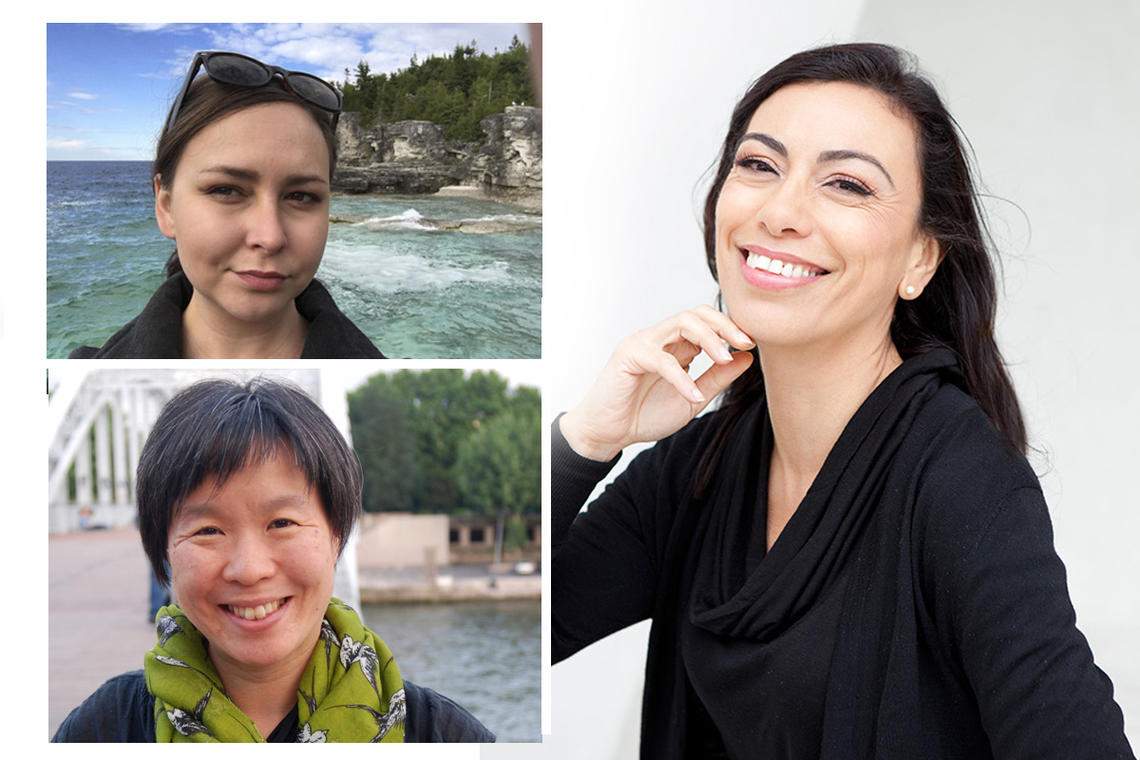 Clockwise from top left: Liz Howard, Carmen Aguirre and Larissa Lai.
