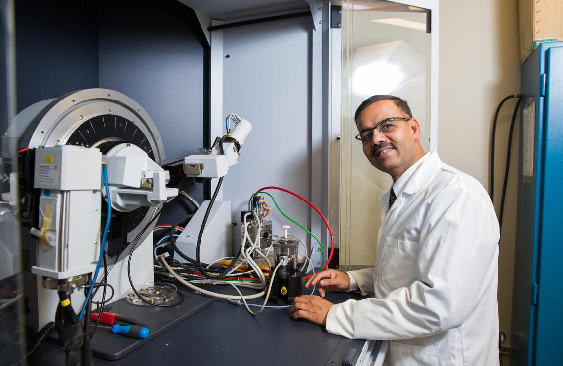 Venkataraman Thangadurai, professor in the Chemistry Department at the University of Calgary, worked with scientists at the University of Maryland, College Park to build the advanced battery. Photos by Riley Brandt, University of Calgary