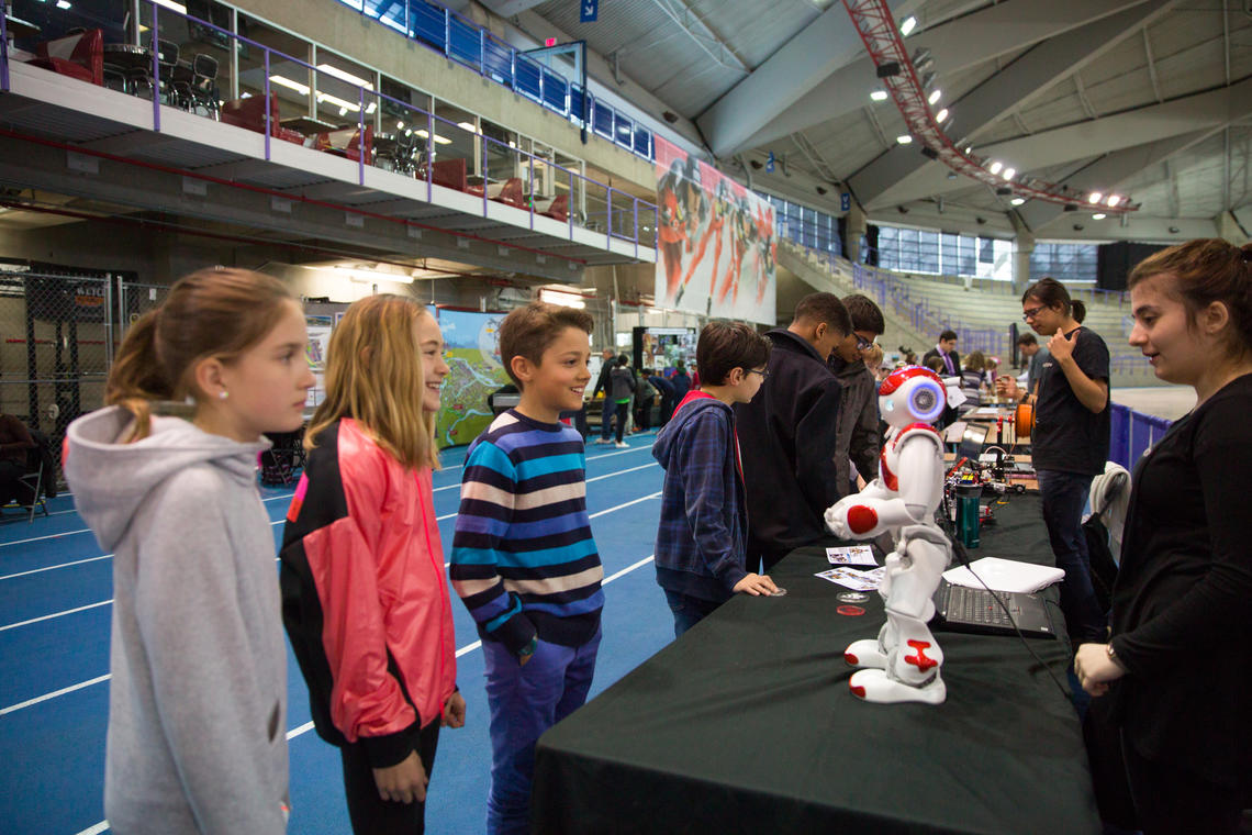 Students have fun talking about robotics at the 55th annual Calgary Youth Science Fair held at the Olympic Oval on April 21 and 22.