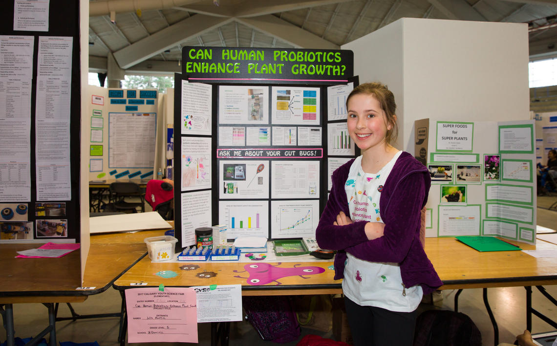 Julia Martin, a grade five student from St. Dominic Elementary School, presents her findings on human biotics, plant growth and gut bugs.