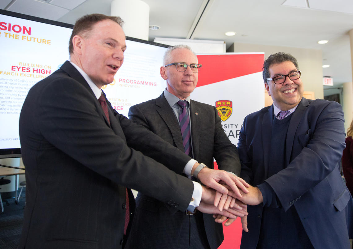 From left: Barry Munro, chair of the board of directors of the Opportunity Calgary Investment Fund, Ed McCauley, president and vice-chancellor of the University of Calgary, and Calgary Mayor Naheed Nenshi announce $8.5 million in funding for the Life Sciences Innovation Hub at University Research Park.