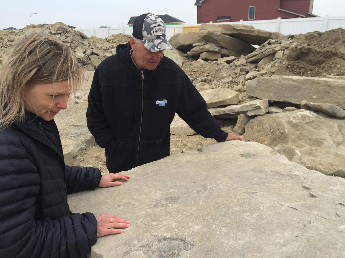 University of Calgary paleontologist Darla Zelenitsky and Edgar Nernberg at the site where the fish fossils were discovered.