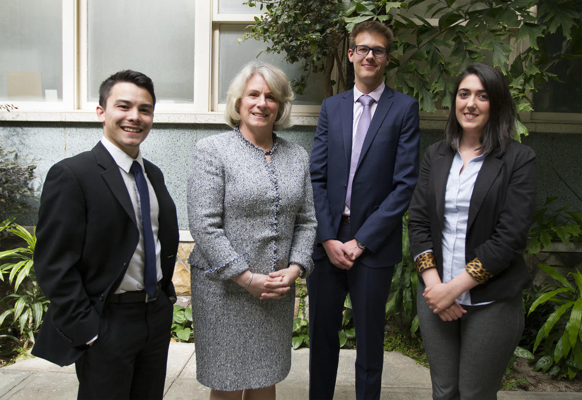 With President Cannon, the University of Calgary's 2017 President's Award for Excellence in Student Leadership winners are Taylor Woo, Dirk Chisholm and Nilufer Hasanova.
