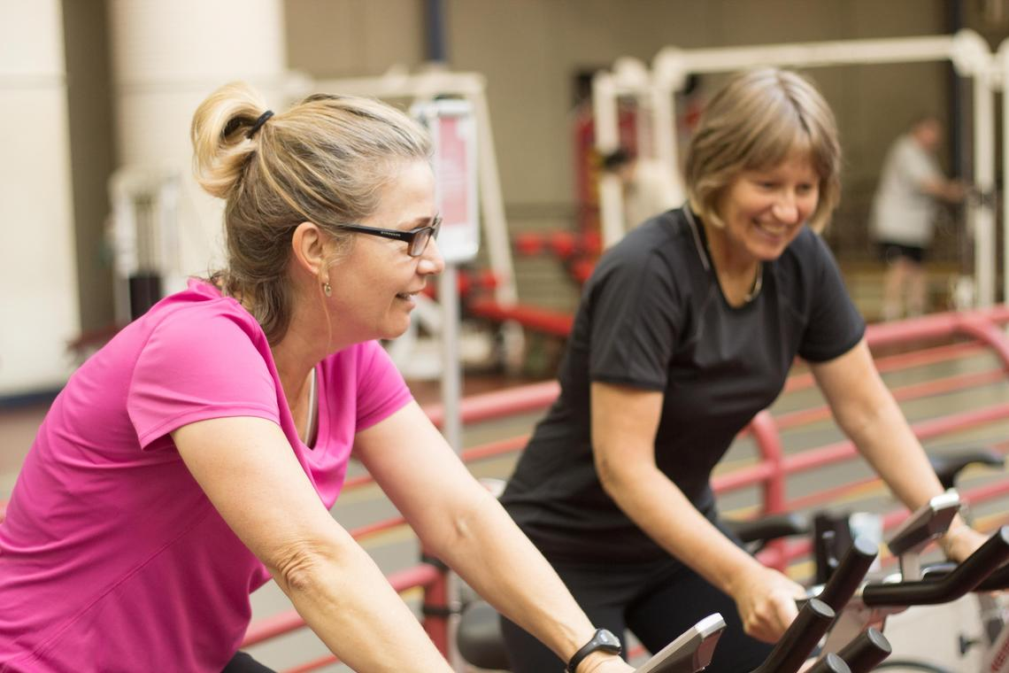Ann and Jill, participants of the first Brain in Motion study, take part in a six-month aerobic exercise program at the University of Calgary.