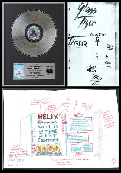 Clockwise, from top left: Award for platinum sales status of Iron Maiden's album, Seventh Son of a Seventh Son; early designs of the Glass Tiger logo; Helix — Running Wild in the 21st Century single artwork sketch and printing proof.