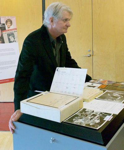 Recording artist Tom Cochrane checks out his archival material in the EMI Music Canada Archive.
