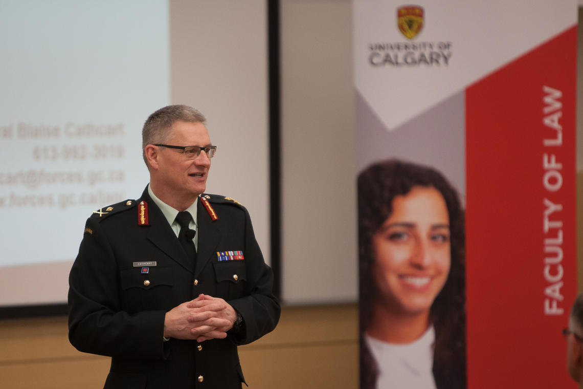Major-General Blaise Cathcart, Judge Advocate General of the Canadian Armed Forces, speaks to Faculty of Law students at the University of Calgary on Tuesday.
