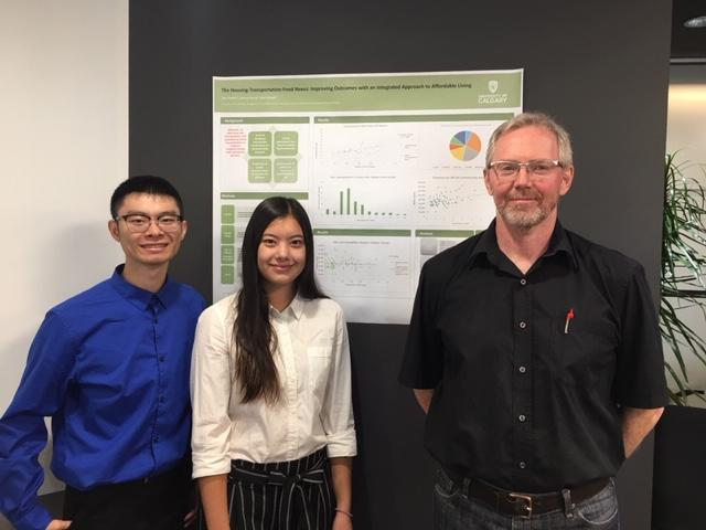 Joshua Wong and Sara Haidey, along with Professor Noel Gerard Keough, present their research findings during the Housing-Transportation-Food Nexus Research Symposium in September 2018.