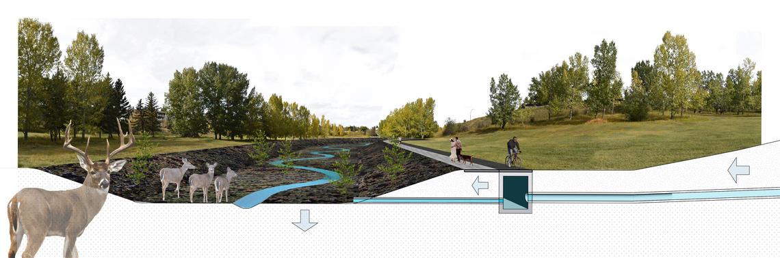 In this rendering, Tawab Hlimi explains a daylighted Confederation Creek is visualized as ecological stormwater infrastructure. Image courtesy Tawab Hlimi