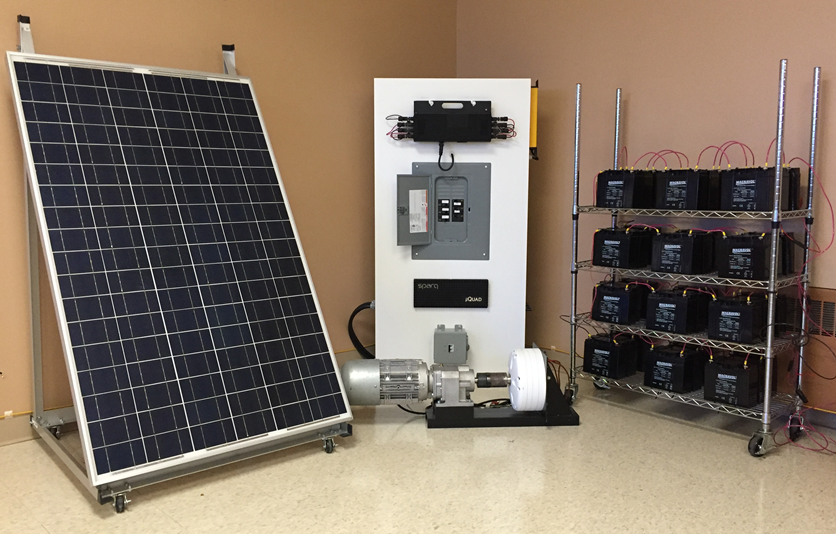 A PV panel, wind simulator, micro-grid, and battery pack; all elements of the hybrid micro-grid for distributed power generation to be built on the University of Calgary's campus.