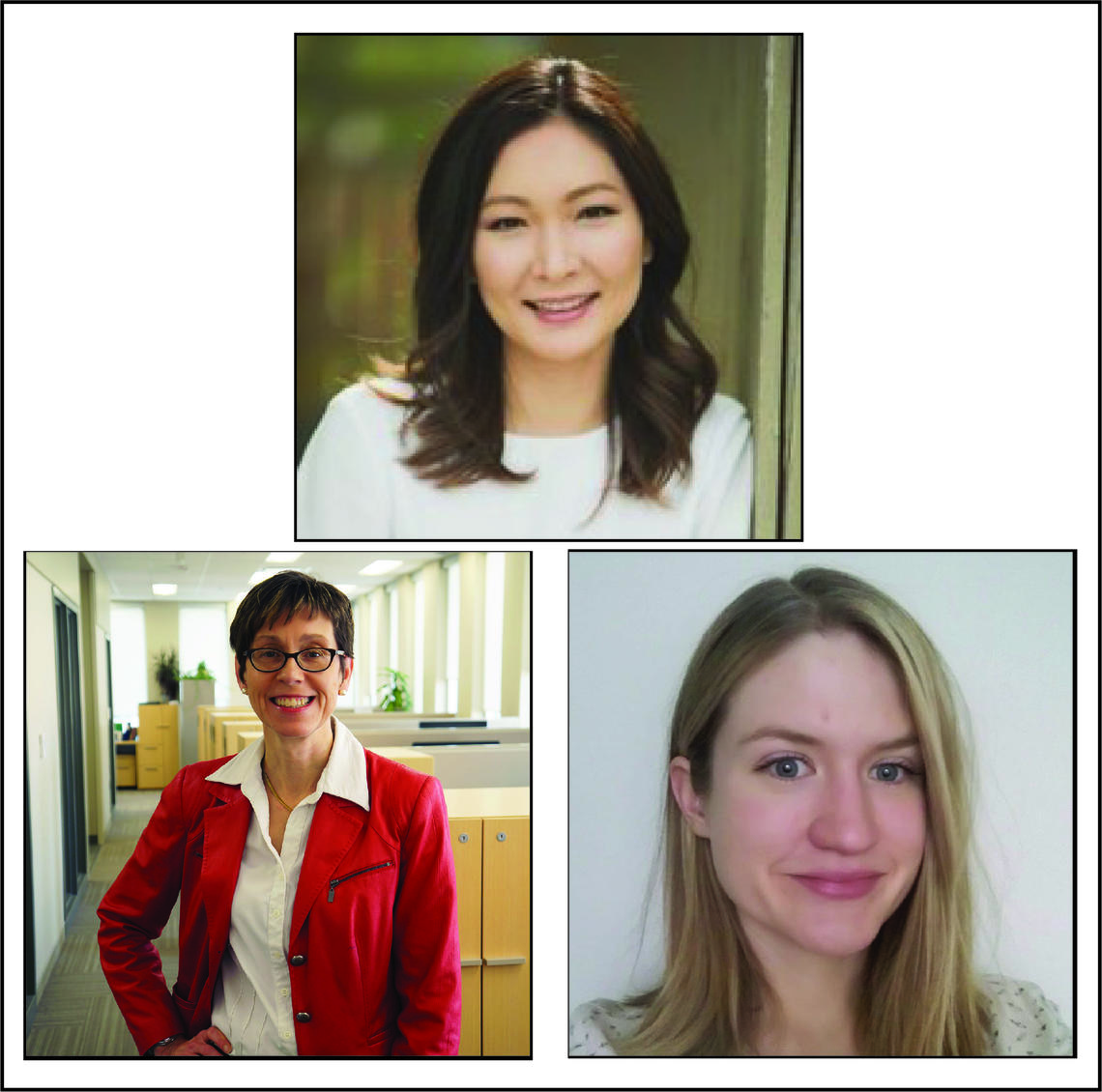 Keynote speakers for the 2019 Women in Data Science Cumming School of Medicine Conference are: Rena Tabata (top), Dr. Lisa Lix, PhD, (bottom left), Jacqueline Harris (bottom right).