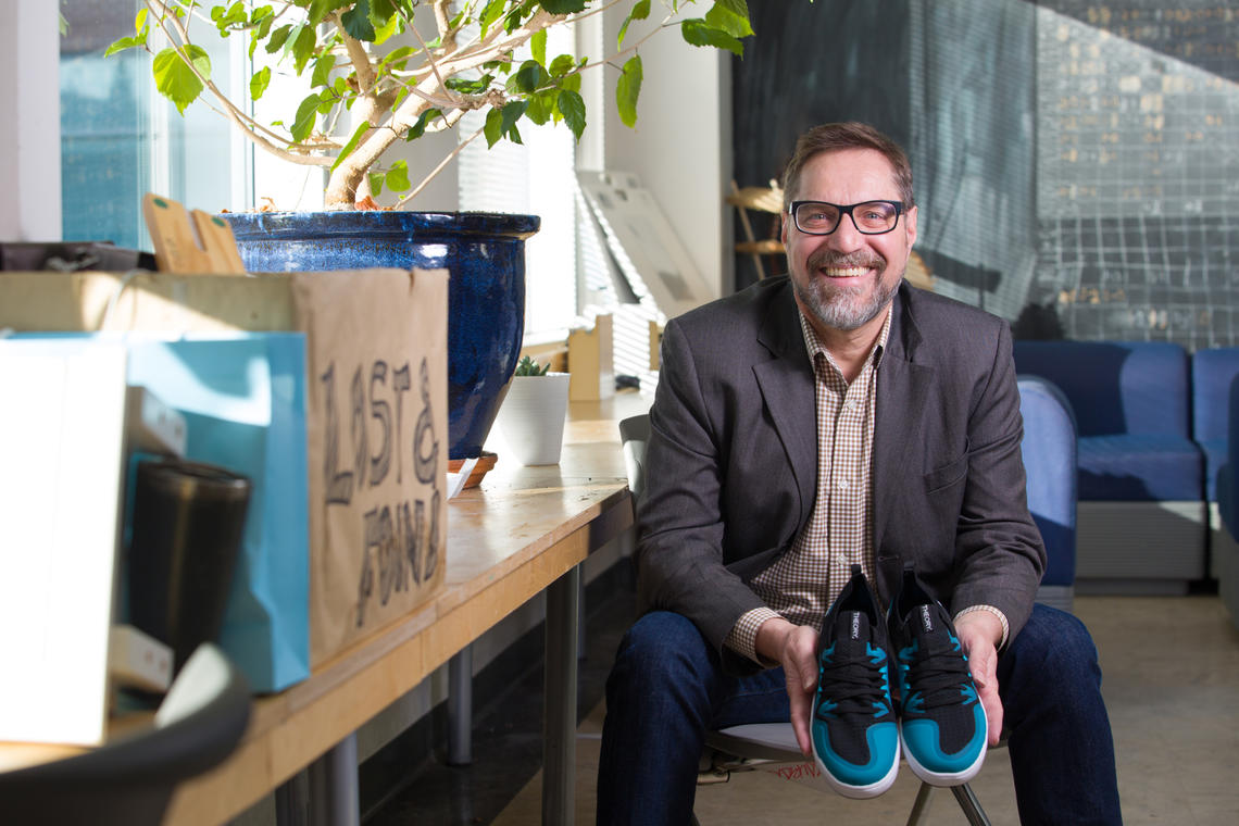 SAPL prof Barry Wylant oversaw master's student Kristine Vodone's thesis, the wakeskate shoes project.