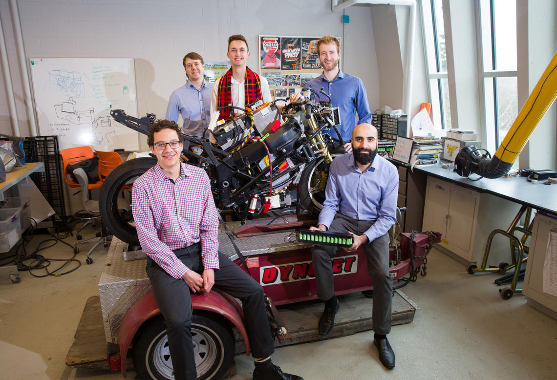 Five current and former University of Calgary students are providing a smart solution to electric vehicle maintenance. From left, David Atkins-Apeldoorn, Daniel Sieben, Roger Hull, Tanner Ober and Rajiv Parmar, the members of Oberon Technologies. Roger Hull has been selected as one of 12 finalists across Canada for the Enactus 2019 Student Entrepreneur.