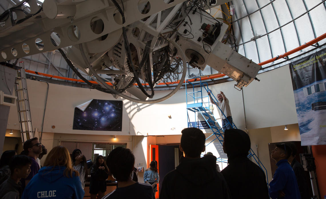 Students from a rural junior high school tour the University of Calgary's Rothney Astrophysical Observatory on May 29.