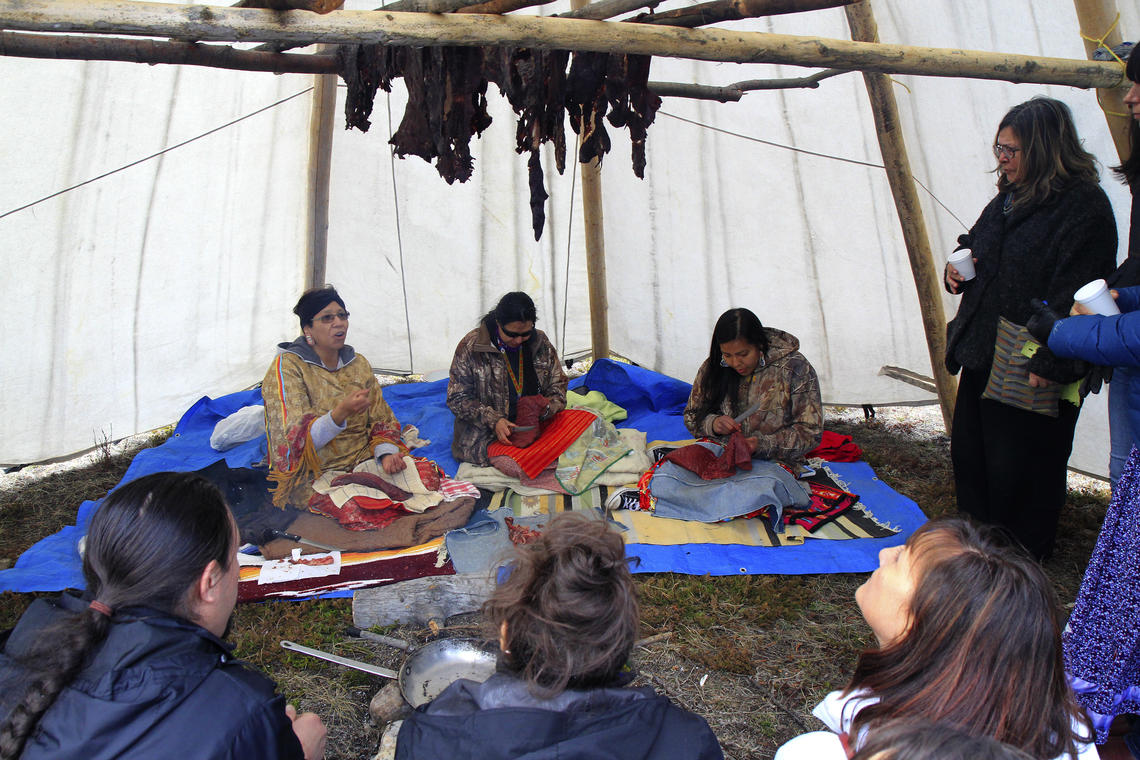 Members of the Stoney Nakoda community demonstrated how to prepare and dry elk meat.
