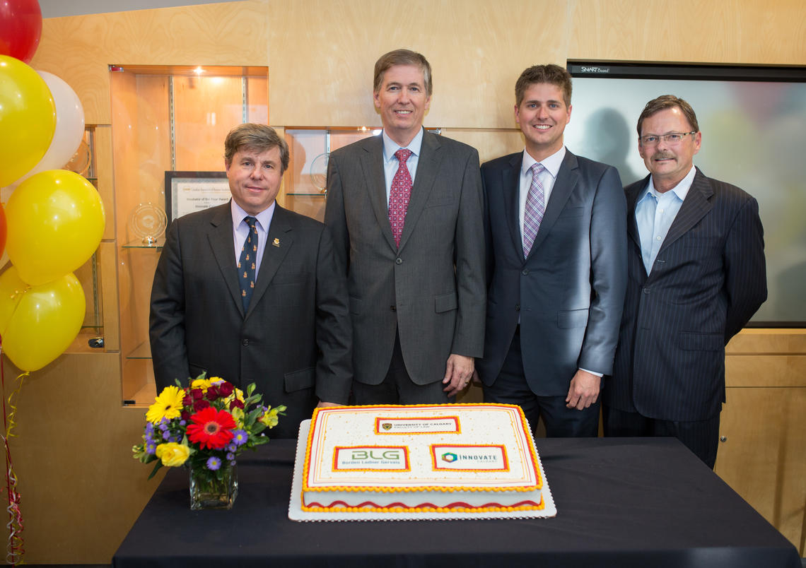 From left: Ian Holloway, dean of law school; David Whelan, managing partner of BLG's Calgary office; Matt Bell, third-year law student; Ken Porter, vice-president intellectual property management at Innovate Calgary.