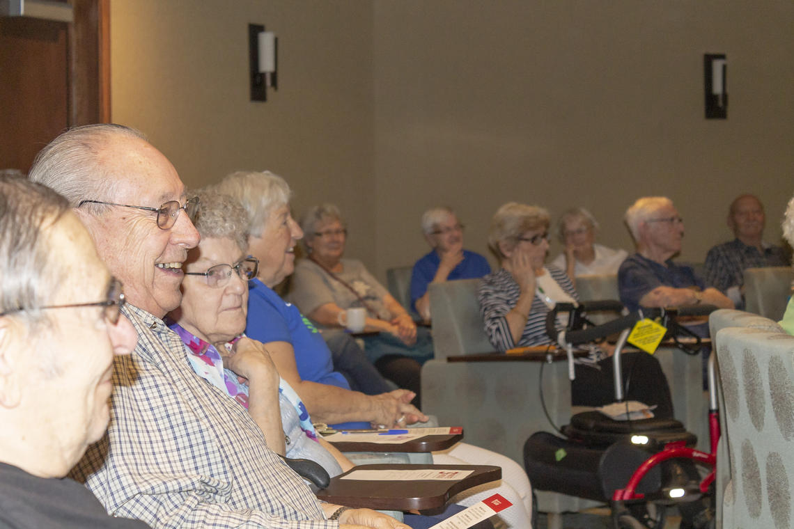 Residents of the Rocky Ridge Retirement Community enjoyed hearing graduate students speak.
