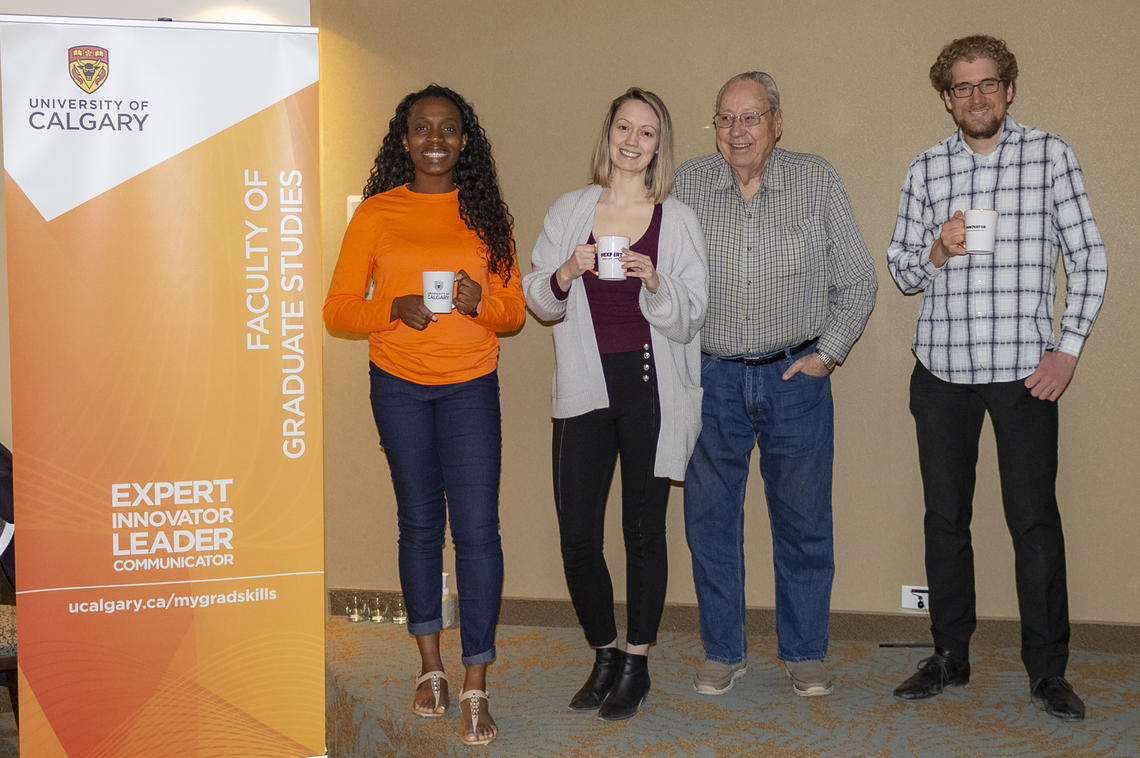 Graduate students, from left: Anthonia Anowai, Carly Pontifex and Dante Bencivenga with Rocky Ridge resident Leon Root.