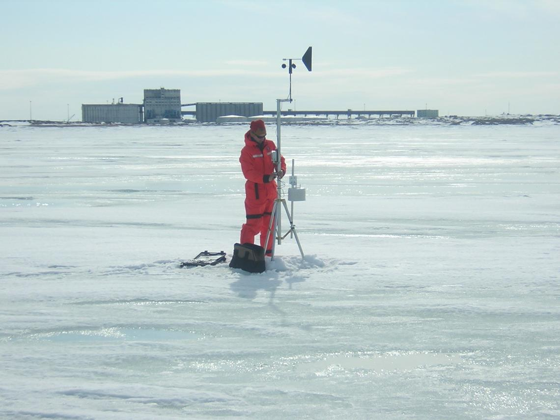 University of Calgary researchers install meteorological equipment on the sea ice near the Port of Churchill, the future home of the Churchill Marine Observatory.
