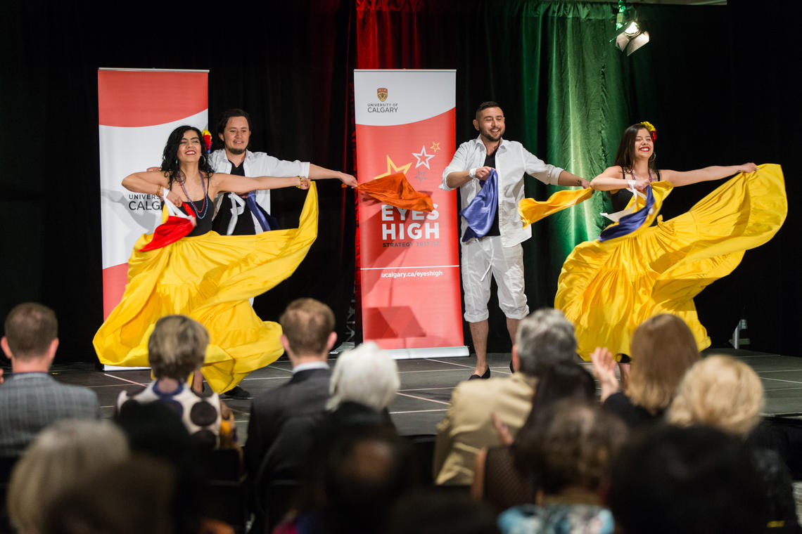 The 2019 UCIA Awards event featured interactive displays and diverse ethnic performances such as the Asi Es Colombia dancers.