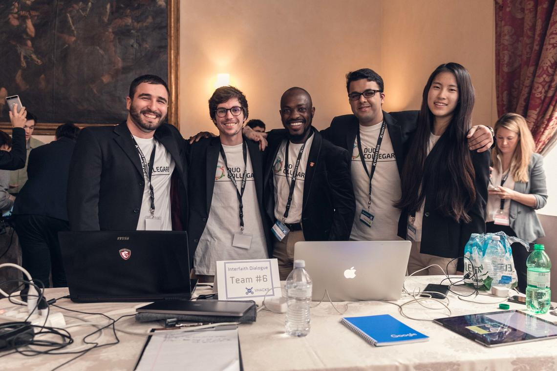 Wang and her team at the 2018 VHacks event at the Vatican. Wang's team design received the La Croix Prize in addition to being the winner in their Interfaith Dialogue category. Their web platform, DUO Collegare, promoted interfaith 'doing' by connecting people of every religion and background to timely volunteer opportunities in their community.