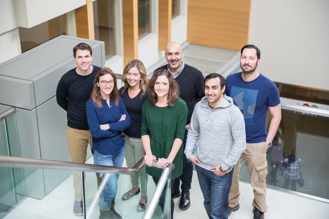 Group shot of researchers from the Bains Lab