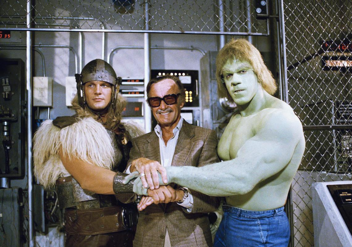 Stan Lee with Lou Ferrigno and Eric Kramer.