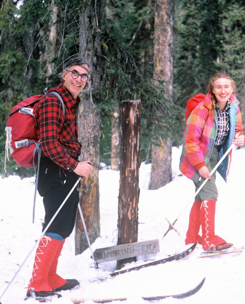 Richard and Louise cross-country skiing in 1970