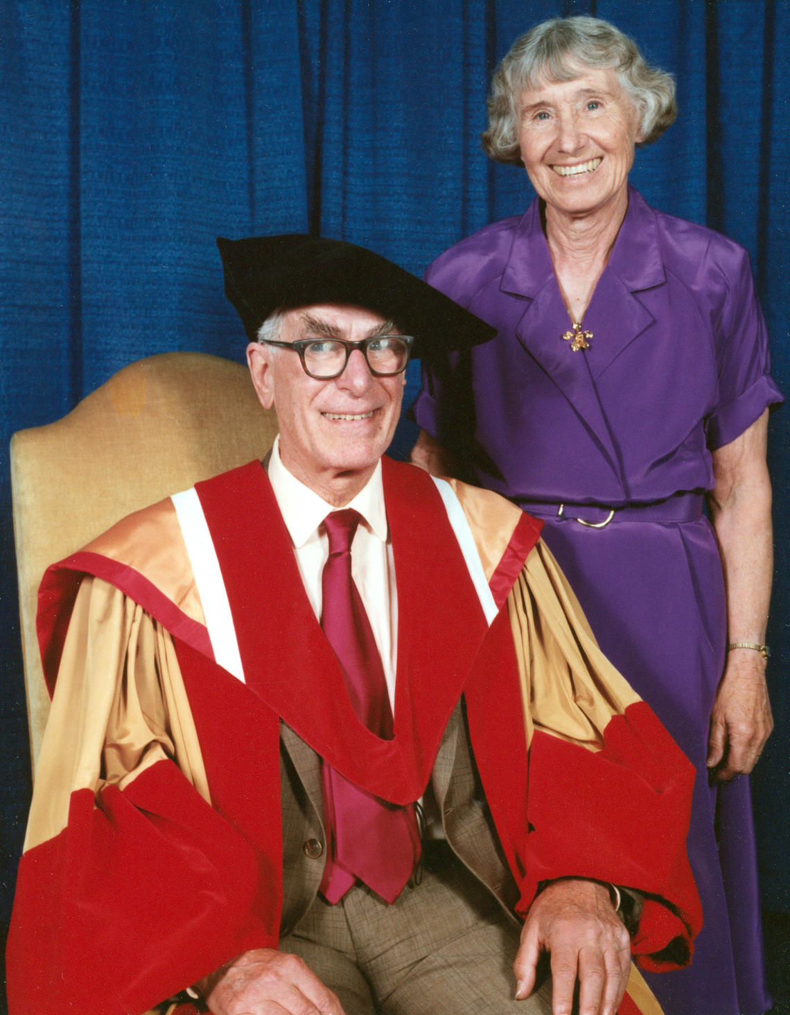 Richard and Louise at UCalgary's honourary doctorate ceremony in 1991.