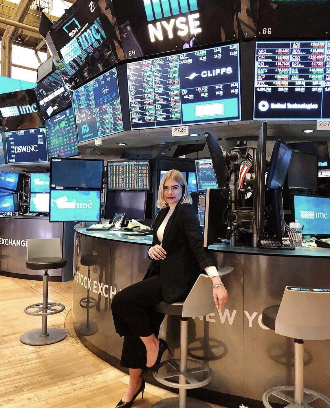 Murray visiting the New York Stock Exchange on Days of Discovery trip.