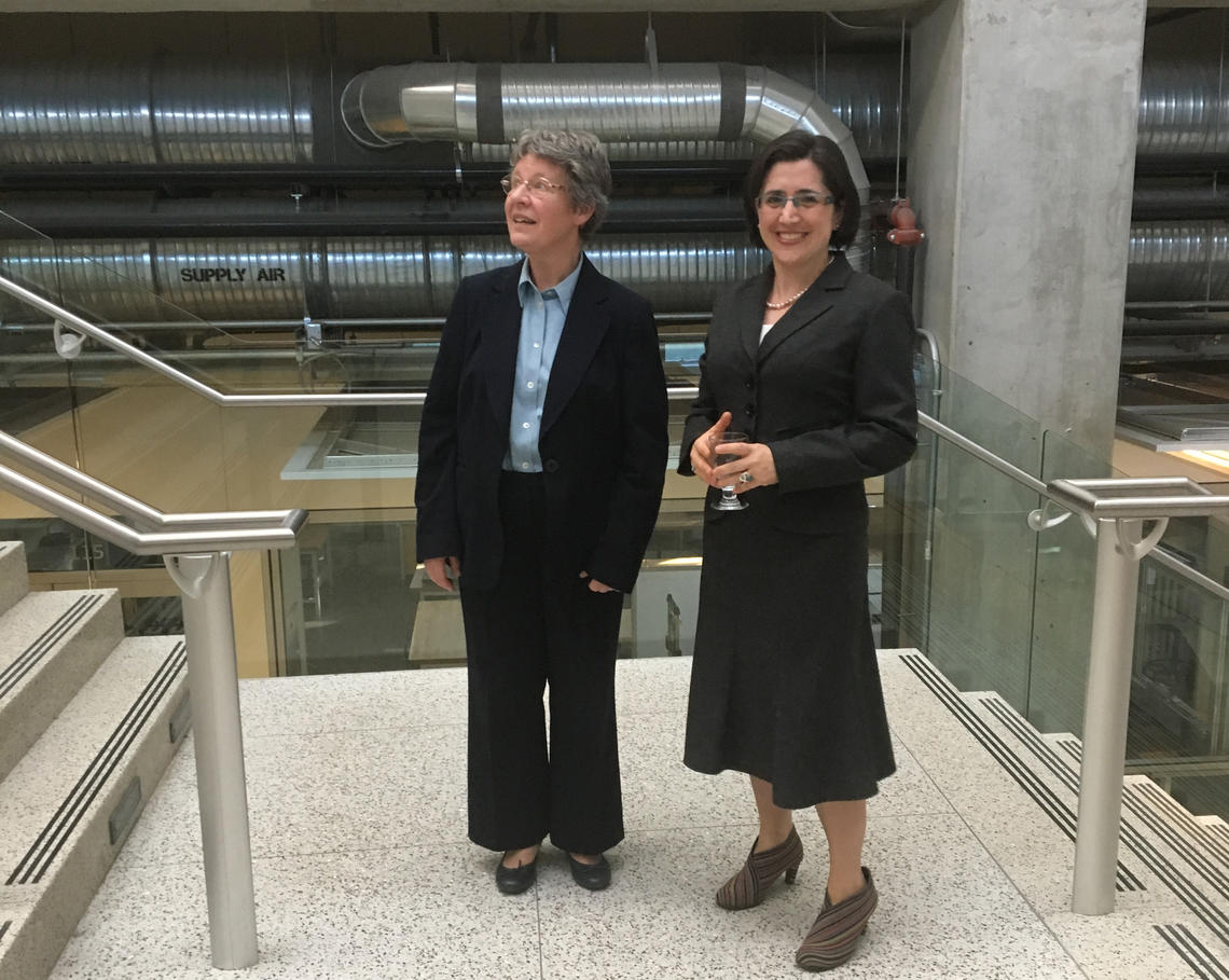 Laleh Behjat with Dame Jocelyn Bell Burnell, who discovered the first pulsar in 1967, during her visit to the University of Calgary in 2018.