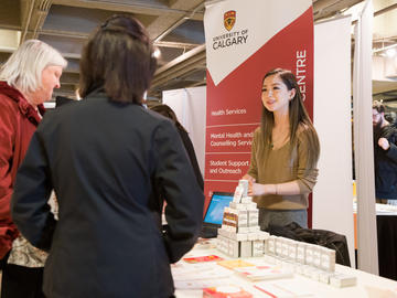 University of Calgary students, faculty, and staff participate in the wellness fair at the third anniversary of the launch of the Campus Mental Health Strategy.