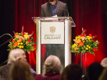 University of Calgary student and co-president of Man Up for Mental Health, Dayan Jayasuriya emcees the event.