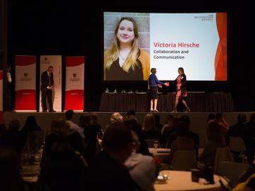 Victoria Hirsche — co-ordinator in Leadership and Student Engagement for Student and Enrolment Services — was nominated in the Collaboration and Communication category